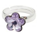 silver Ring with  swarovski Flower Lavender
