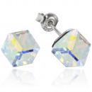 Boucles d'oreilles argent avec swarovski cubiq