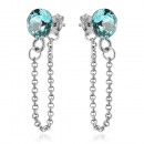 Silver Earrings with Swarovski Xirius Chain Turq