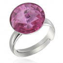 wholesale Jewelry & Watches: Silver Ring with  swarovski Rivoli Rose