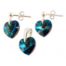 silver Set with swarovski Heart Bermuda Blue