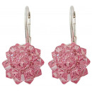 silver earrings  with swarovski Sewed Lt. Rose