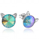Silver Earrings with Swarovski Rivoli Cat Paradise