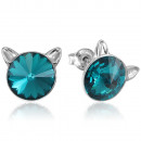 Silver Earrings with Swarovski Rivoli Cat Zircon