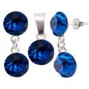 mayorista Joyas y relojes: Establecer plata  con swarovski d. Xirius Azul Capr