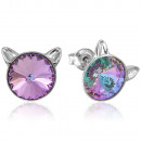 Silver Earrings with Swarovski Rivoli Cat Vitrail