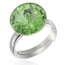groothandel Ringen: Zilveren Ring met  swarovski Rivoli Olivijn