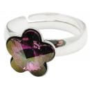 ingrosso Anelli: Anello in argento  con Swarovski fiore Liliac Ombra