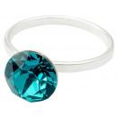 Anello in argento con swarovski Xirius Blue Zircon
