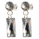 silver earrings with swarovski Baguette CAL