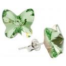 Silberohrringe mit Swarovski-Schmetterling Peridot