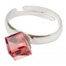 groothandel Ringen: Zilveren ring met  swarovski Cubic Padparadscha