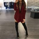 Neck Tunika Kleid One Size Bordo