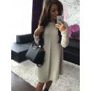 Frauen Pullover Tunika-Kleid beige