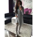 Frauen Pullover Tunika Kleid Grau