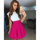 wholesale Dresses: Lace dress with flared New Fuchsia