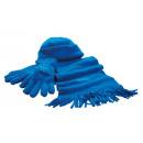 wholesale Scarves & Shawls: Fluffy Fleece Set Triple color royal blue