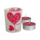 groothandel Windlichten & lantaarns: Windlicht  Forever  Love  kleur transparant, rood