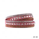 grossiste Bijoux & Montres: Bracelet strass  carré Bouton strass altrose