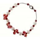Perla d'acqua  dolce Bracciale cristallo rosso