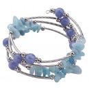 Großhandel Armbänder: Edelstein-Armband vier Schleifen Blau Gemstones