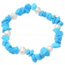 wholesale Bracelets: Freshwater pearl and gemstone bracelet Pearl Turqu