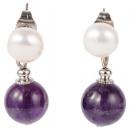 Großhandel Ohrringe:Süßwasserperlenohrri  ng mit -Edelstein-Perlen ...