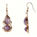 wholesale Pendant: Gemstone Earring Amethyst Gold
