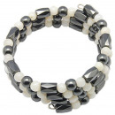 Precious stones  and pearl bracelet Magnetite Shell