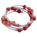 wholesale Bracelets: Gemstone Bracelet Four Loops Red Agate