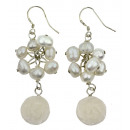 Freshwater pearl earrings with jade White Rose
