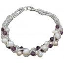 grossiste Bijoux & Montres: Perle d'eau  douce Bracelet Crystal Pearl Viole