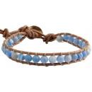 Großhandel Schmuck & Uhren: Blauer Achat  Edelstein Armband Wrap Effloresce
