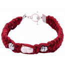 grossiste Bijoux & Montres: Perle d'eau douce Bracelet Perle Rouge Suede