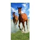 Großhandel Home & Living: Handtuch Strandbad 140x70 Baumwolle Pferde