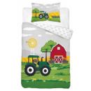 Bedding baby tractor farm135x100 40x60 coton
