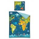 Großhandel Haushalt & Küche: Leinenweltkarte 160x200 70x80 Baumwolle