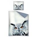 bed linen owl 140x200 70x80 coton