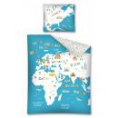 Großhandel Geschenkartikel & Papeterie: Jugendbett 140x200 70x80 Weltkarte