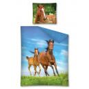 groothandel Home & Living: Bedtextiel paard  paarden 140x200 70x80 cm katoen