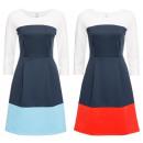 Großhandel Kleider: Damen Kleid mit Blockfarben 2 Farben Kleider
