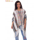 wholesale Pullover & Sweatshirts: Knitted Woman Poncho White