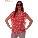 Blouse Red Print  Butterfly Blouses Chiffon
