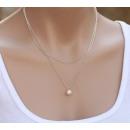 Großhandel Schmuck & Uhren: 2-fache Halskette  Modische Kette mit Perle