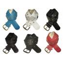 wholesale Belts: Stripes wide eco leather belt for women's pant