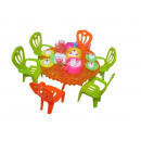 Sets of toy doll tables with accessories
