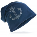 wholesale Headgear: Beanie hat rhinestone anchor dark blue