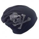 grossiste Figurines & Sclulptures: Beanie Skull and Bone Strass Noir
