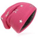Großhandel Kinder- und Babybekleidung: Kinder Strick Beanie Silber Stern Pink M