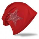 Beanie Mütze Strass Stern Rot
